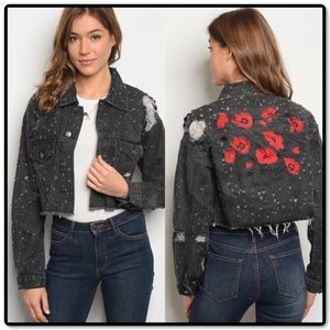 Distressed Embroidered Jean Jacket